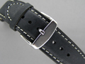Leather Watch Strap TWISTER Black / White 24mm