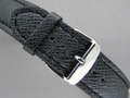 Leather Watch Strap VEGA Black / Black 22mm