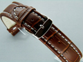 Leather Watch Strap CROCO XXXL Dark Brown / White 20mm