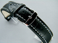 Leather Watch Strap CROCO XXXL Black / White 18mm