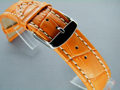 Leather Watch Strap CROCO XXXL Orange / White 24mm
