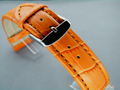 Leather Watch Strap CROCO XXXL Orange / Orange 18mm