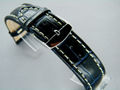 Leather Watch Strap CROCO XXXL Navy Blue / White 20mm