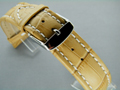 Leather Watch Strap CROCO XXXL Cream / White 20mm