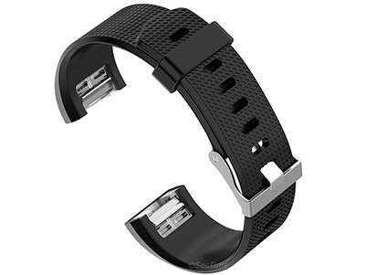 Replacement Silicone Watch Strap Band For Fitbit Charge 2 Black - Large