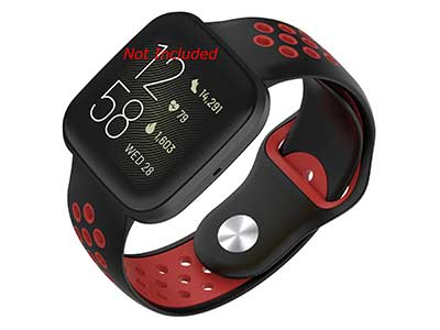 Silicone Watch Strap Band QR For Fitbit Versa 1, 2, Lite - Black/Red - M2