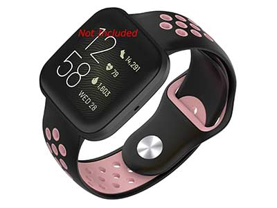 Silicone Watch Strap Band QR For Fitbit Versa 1, 2, Lite - Black/Pink - M2