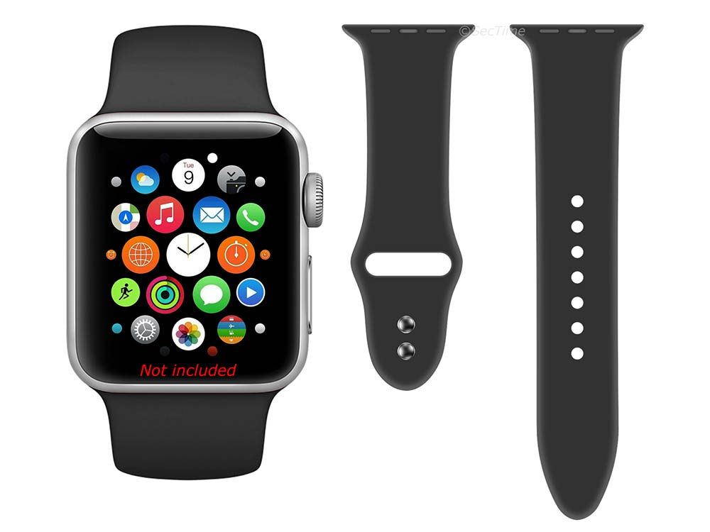Silicone Watch Strap Band For iWatch 38mm/40mm Black - Small - M1 - 03