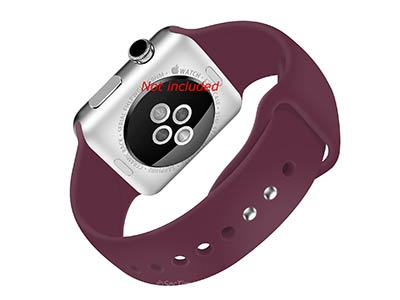 Silicone Watch Strap Band For Apple iWatch 38mm/40mm Maroon - Small - M1