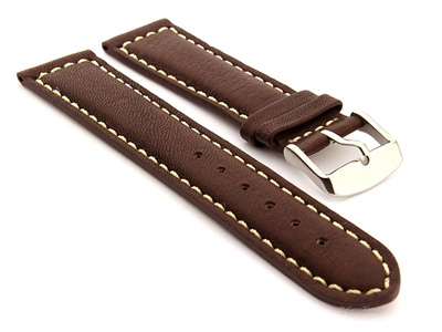 Mens Watch Band Dark Brown with White Stitching Corsair 02