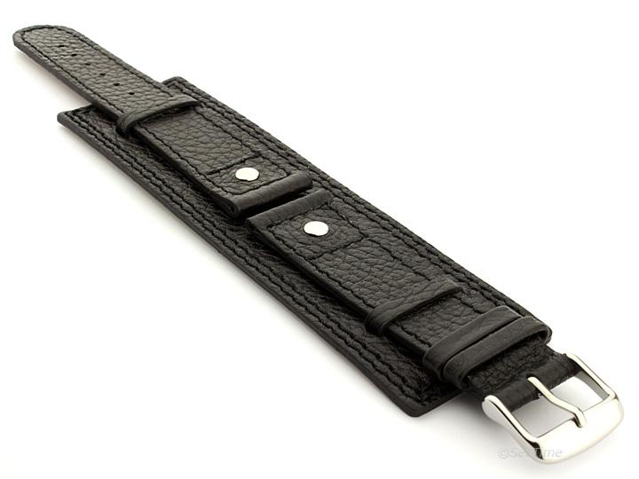 Watch Band with Wrist Cuff Leather Dakar Black 01 01
