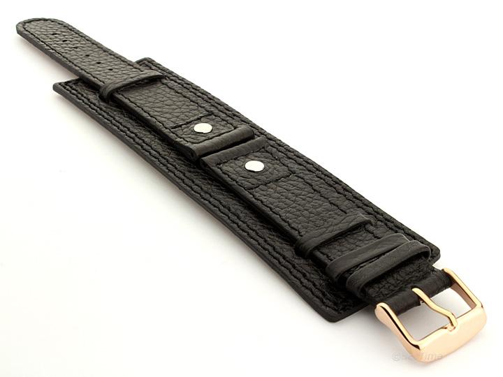 Watch Band with Wrist Cuff Leather Dakar Black 05 01