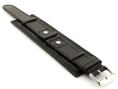 Watch Band with Wrist Cuff Leather Dakar Black 01 01