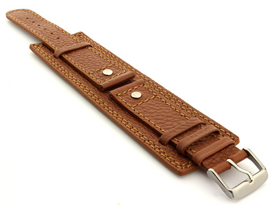 Leather Watch Band with Wrist Cuff Dakar Brown 20mm