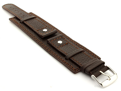 Leather Watch Band with Wrist Cuff Dakar Dark Brown 20mm