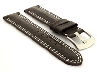 Double Stitched Leather Watch Band Dark Brown Freiburg DS 01