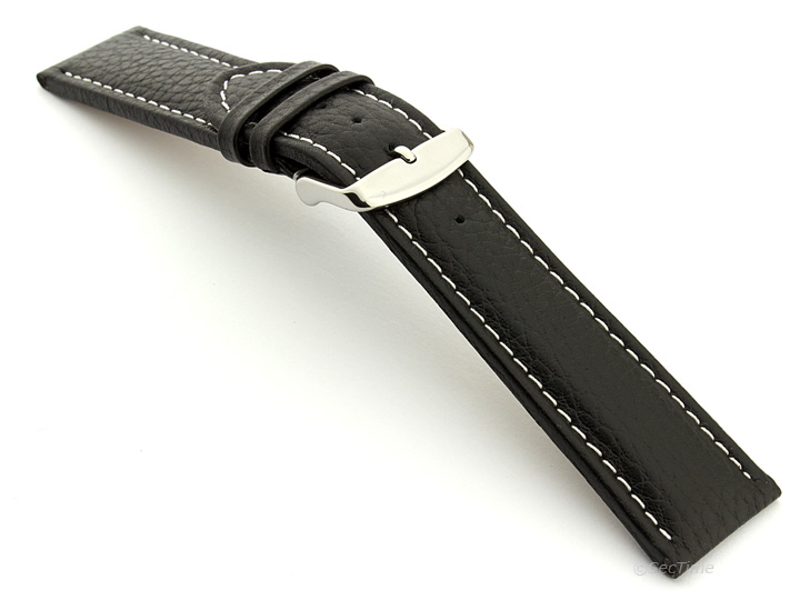 Extra Long Watch Band Black with White Stitching Freiburg 02