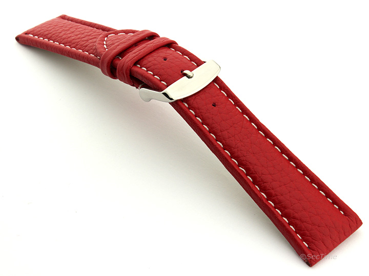 Extra Long Watch Band Red with White Stitching Freiburg 02