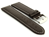 Extra Long Watch Band Dark Brown with White Stitching Freiburg 01