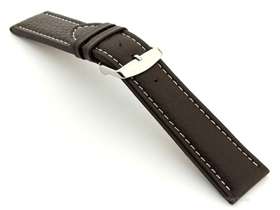 Extra Long Watch Band Dark Brown with White Stitching Freiburg 02