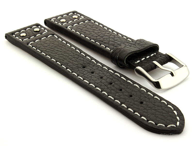 Harley Davidson Style Riveted Leather Watch Band Black with White Stitching 01