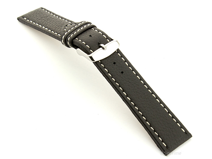 Leather Watch Band Black with White Stitching Kana 02