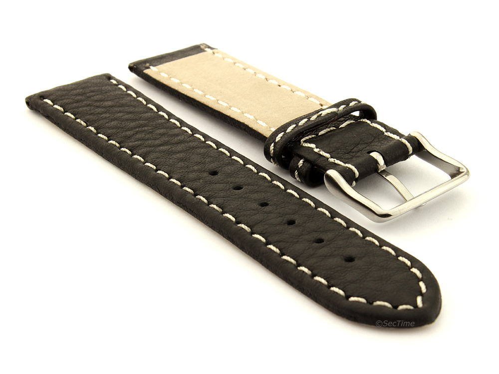 Leather Watch Band Black with White Stitching Kana 03