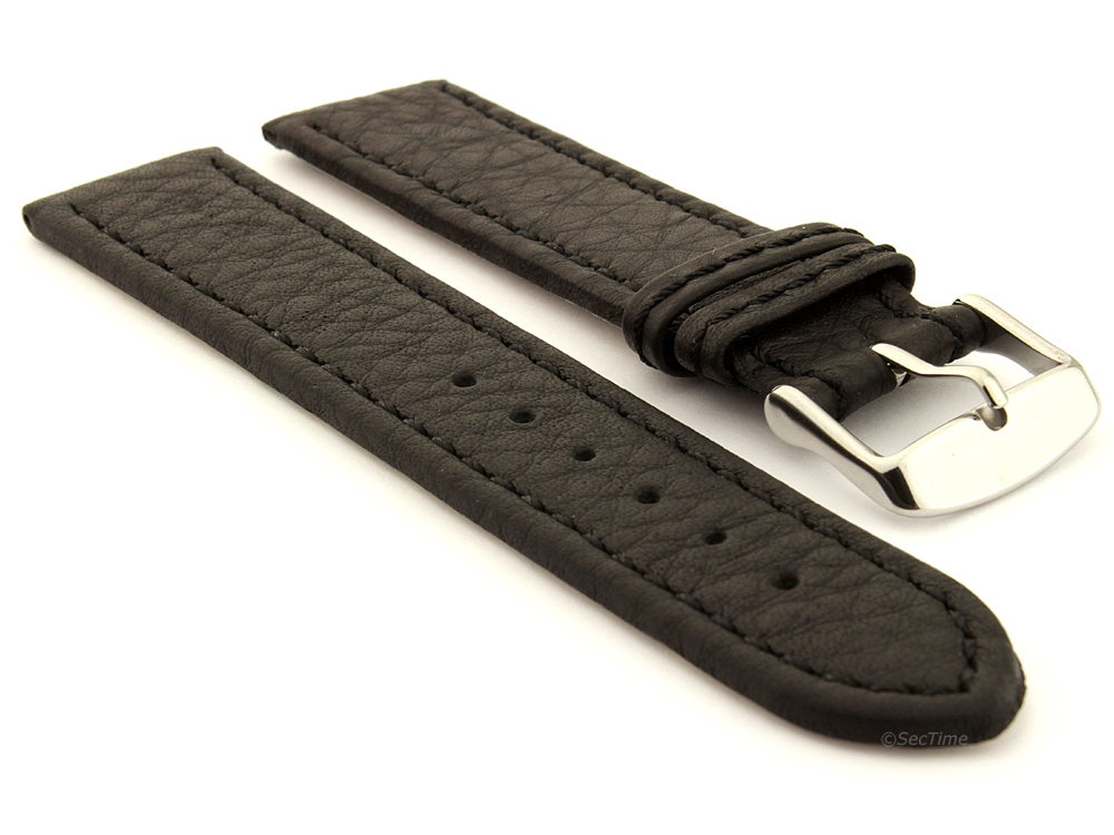 Leather Watch Band Black with Black Stitching Kana 01