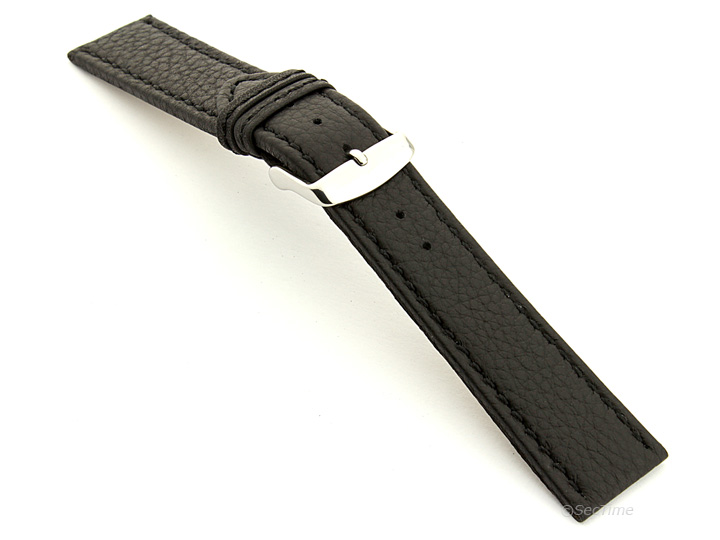 Leather Watch Band Black with Black Stitching Kana 02