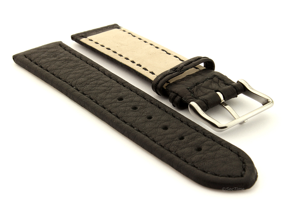 Leather Watch Band Black with Black Stitching Kana 03