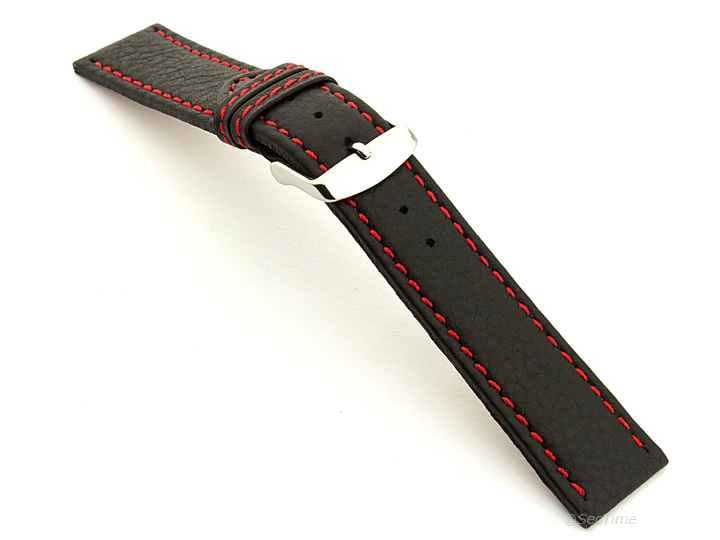 Leather Watch Band Black with Red Stitching Kana 02