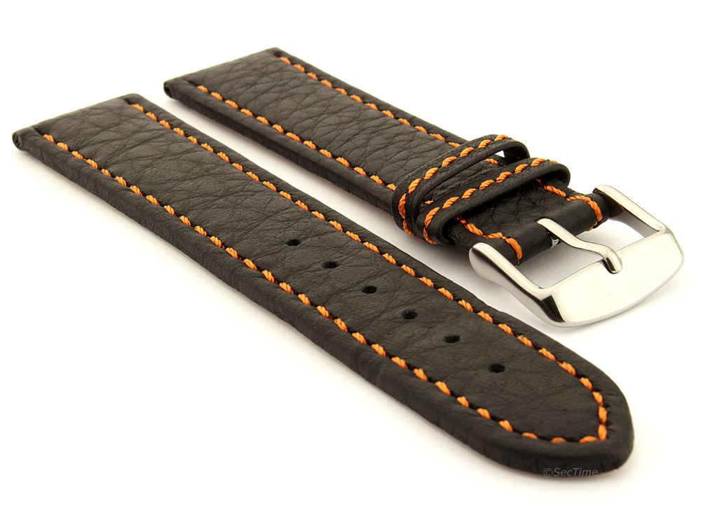 Leather Watch Band Black with Orange Stitching Kana 01