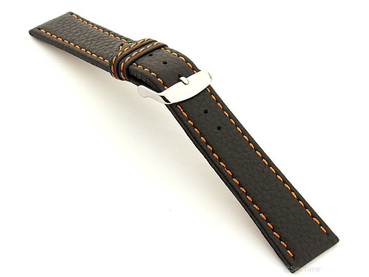 Leather Watch Band Black with Orange Stitching Kana 02