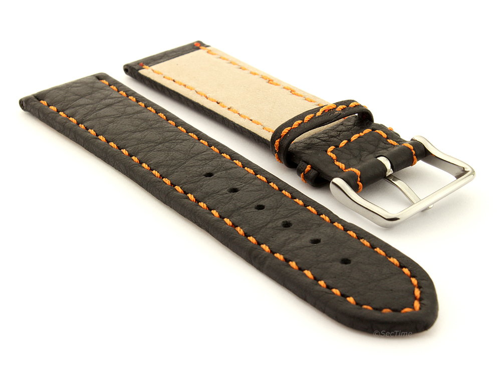 Leather Watch Band Black with Orange Stitching Kana 03