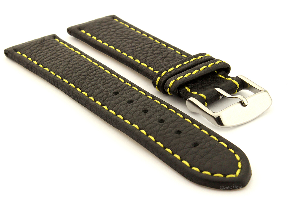 Leather Watch Band Black with Yellow Stitching Kana 01