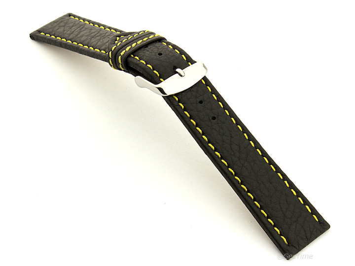 Leather Watch Band Black with Yellow Stitching Kana 02