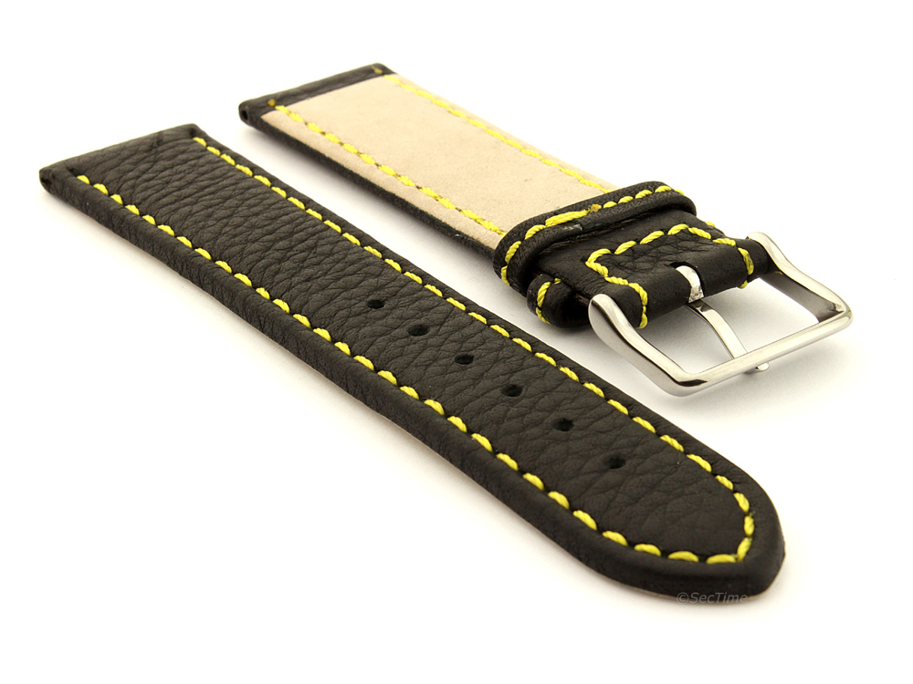 Leather Watch Band Black with Yellow Stitching Kana 03