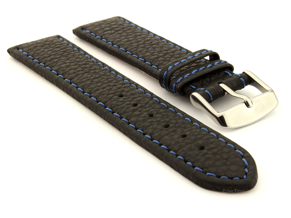 Leather Watch Band Black with Blue Stitching Kana 01