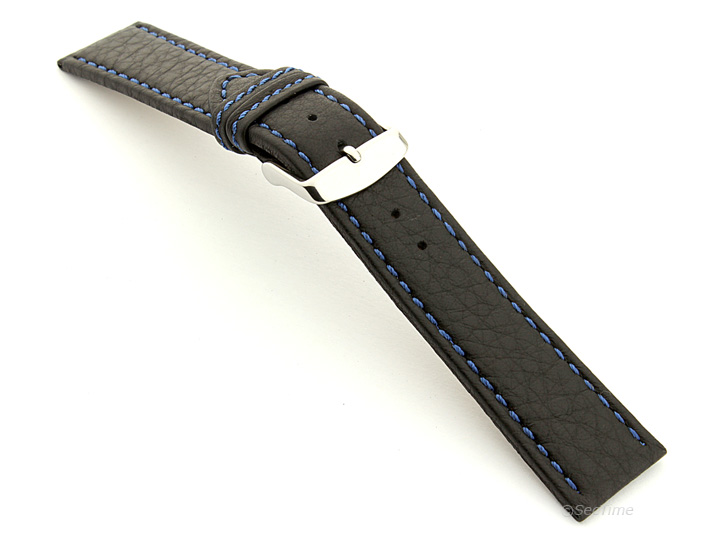 Leather Watch Band Black with Blue Stitching Kana 02