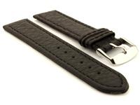 Leather Watch Band Black with Black Stitching Kana 01