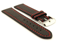 Leather Watch Band Black with Red Stitching Kana 01