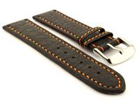 Leather Watch Band Black with Orange Stitching Kana 01