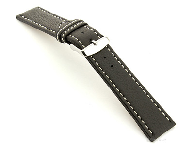 Leather Watch Band Black with White Stitching Kana 02