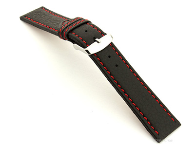 Leather Watch Band Kana Black / Red 24mm
