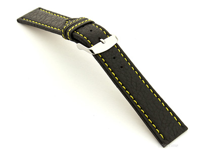 Leather Watch Band Kana Black / Yellow 24mm