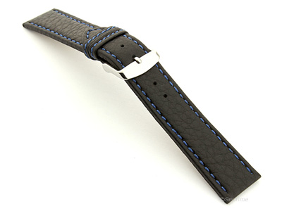Leather Watch Band Kana Black / Blue 24mm