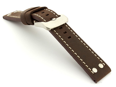 Watch Band Marina with Rivets fits Panerai Matte Dark Brown B1 02