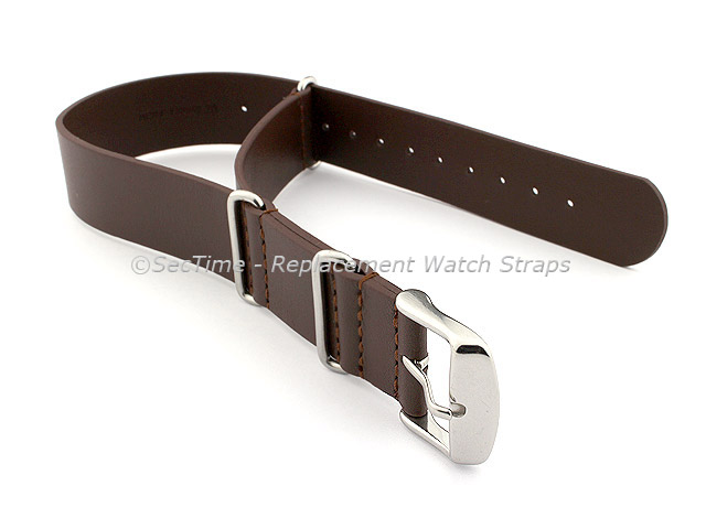 Leather NATO Watch Strap Band (3 rings) Dark Brown 24mm