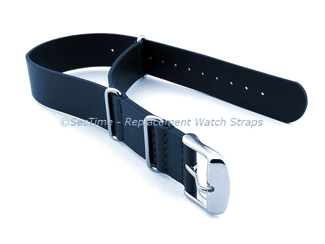 Leather NATO Watch Strap Band (3 rings) Navy Blue 20mm
