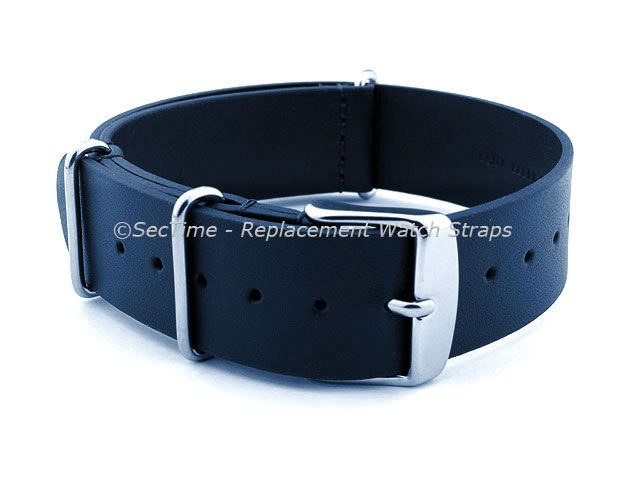 Leather NATO Watch Strap Band (3 rings) Navy Blue 22mm